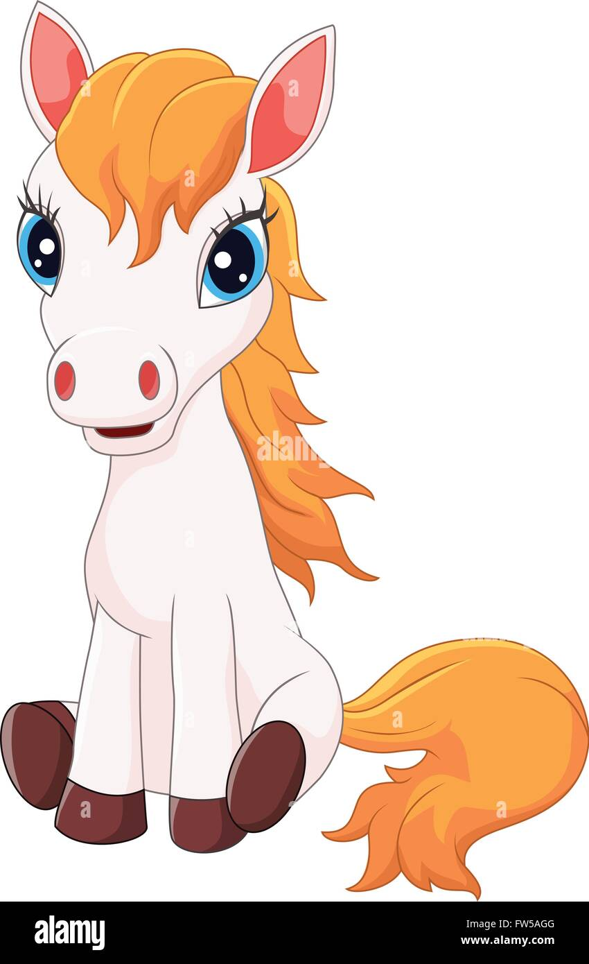 Cartoon Cute Pony Horse Sitting Stock Vector Image Art Alamy