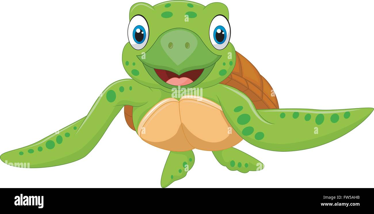 Cute Baby Turtle Vector Illustration Stock Vector Image Art Alamy