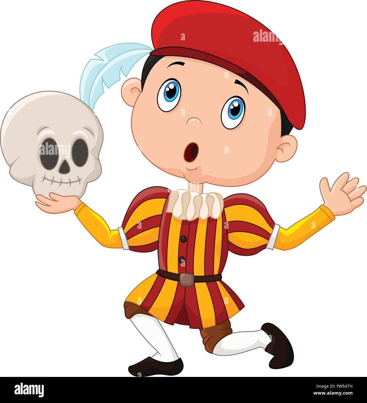 Little boy playing Hamlet in a school play, holding a skull - Stock Vector