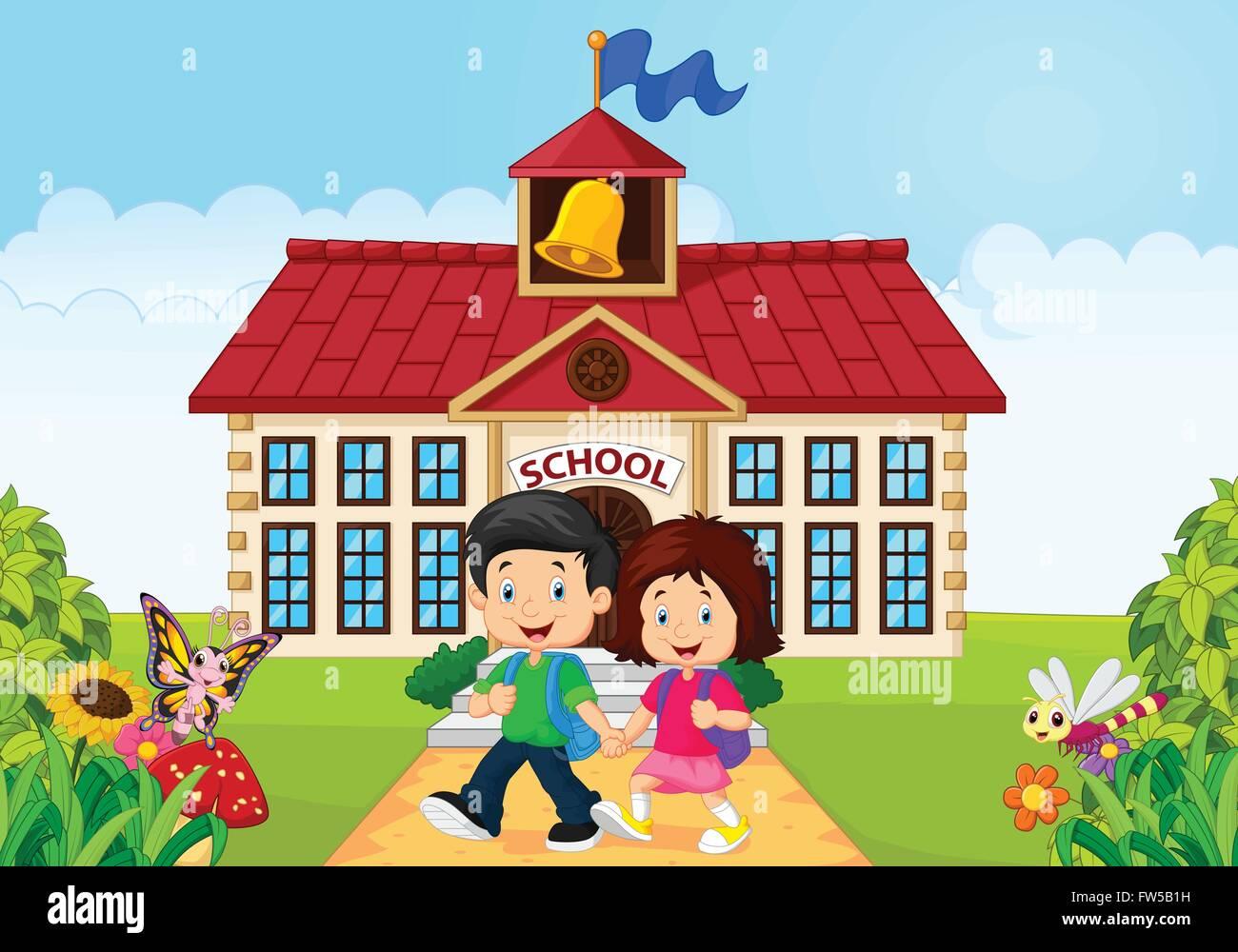 Cartoon Little Children Leaving School Stock Vector Art