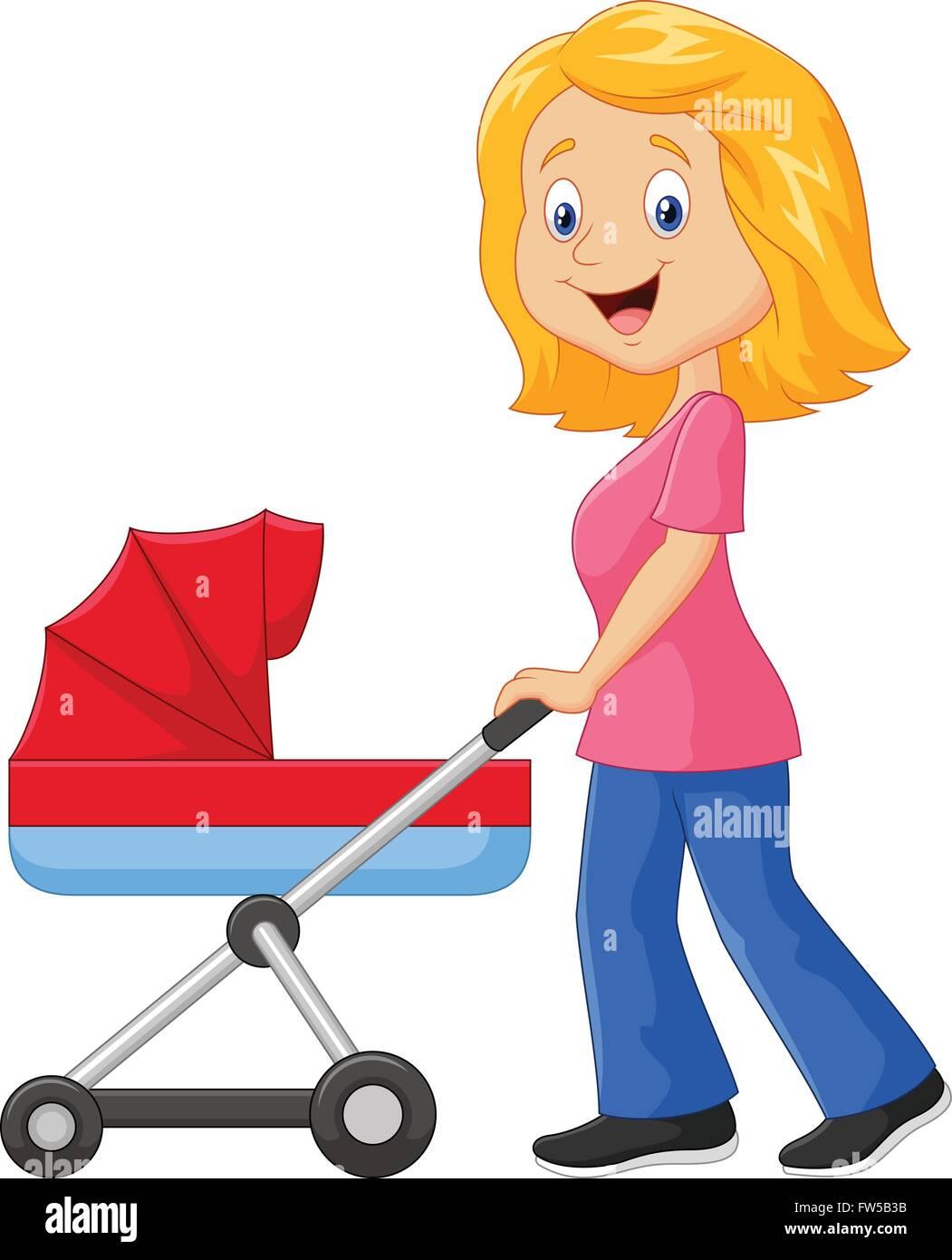 Cartoon a mother pushing a baby stroller Stock Vector ...