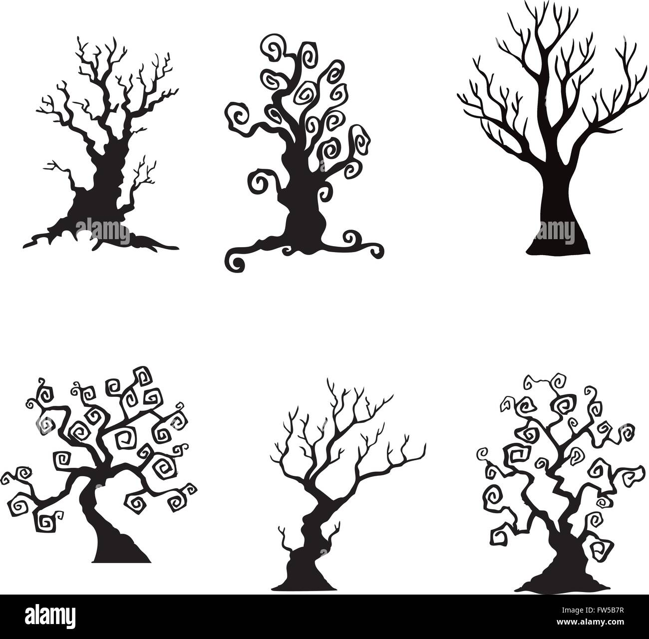 collection of halloween trees silhouettes