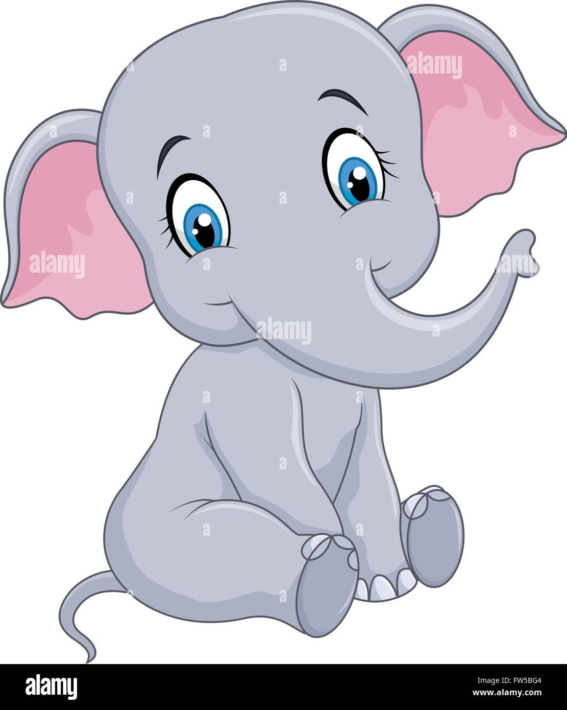 Cartoon funny baby elephant sitting isolated on white ...