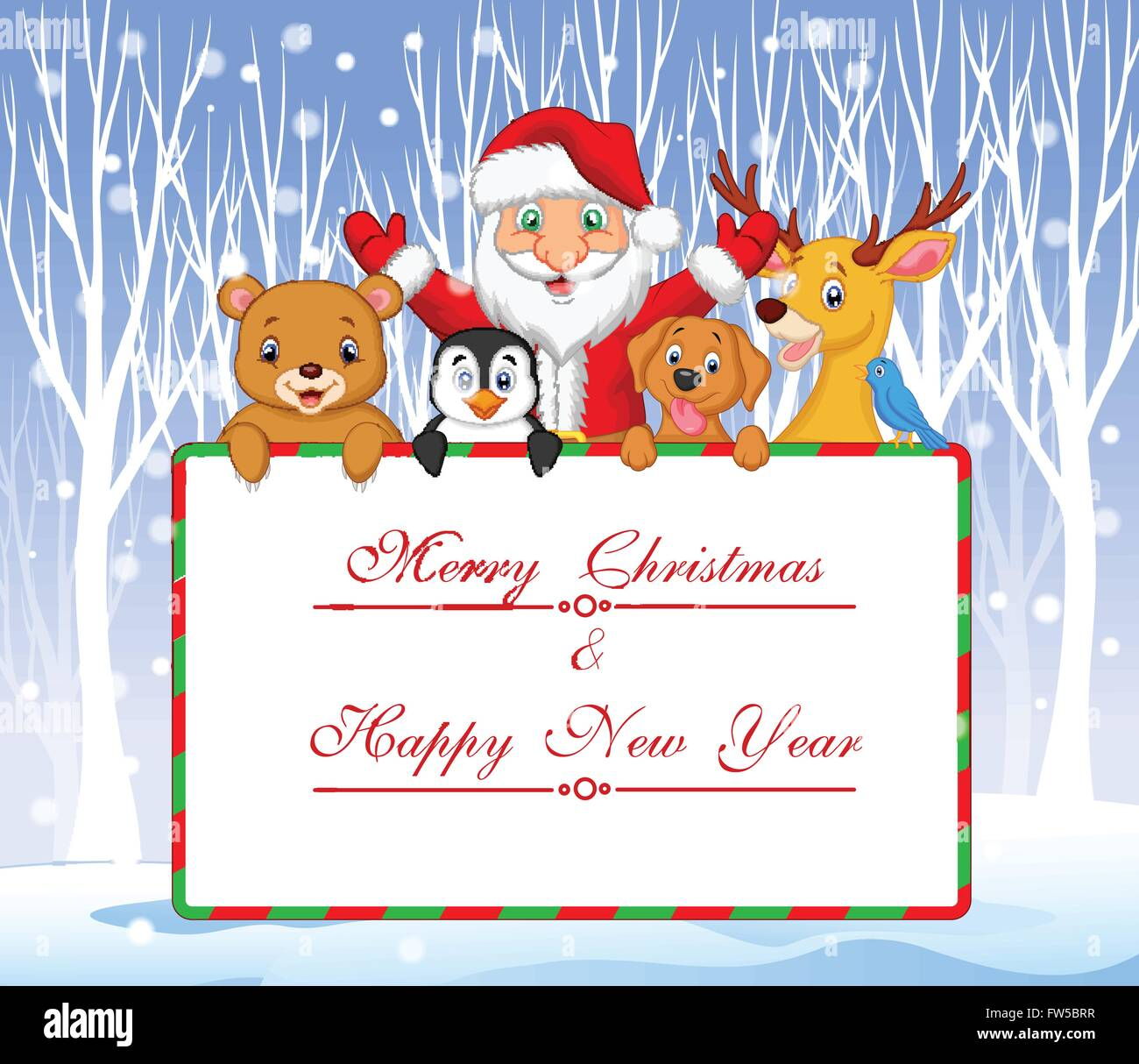 Cartoon Santa And Friend Holding Christmas Greeting With Winter