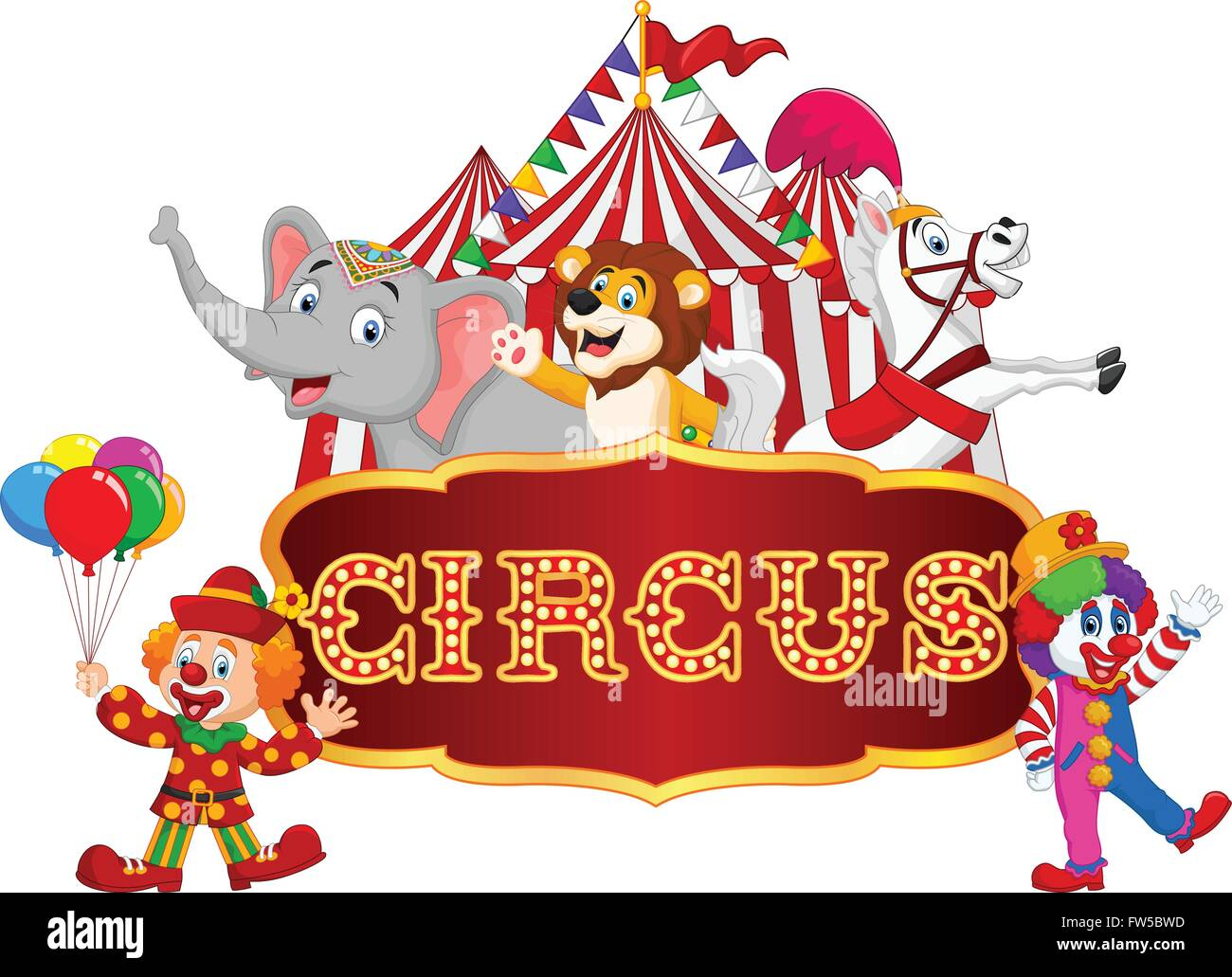 cartoon animal circus and clown with carnival background stock