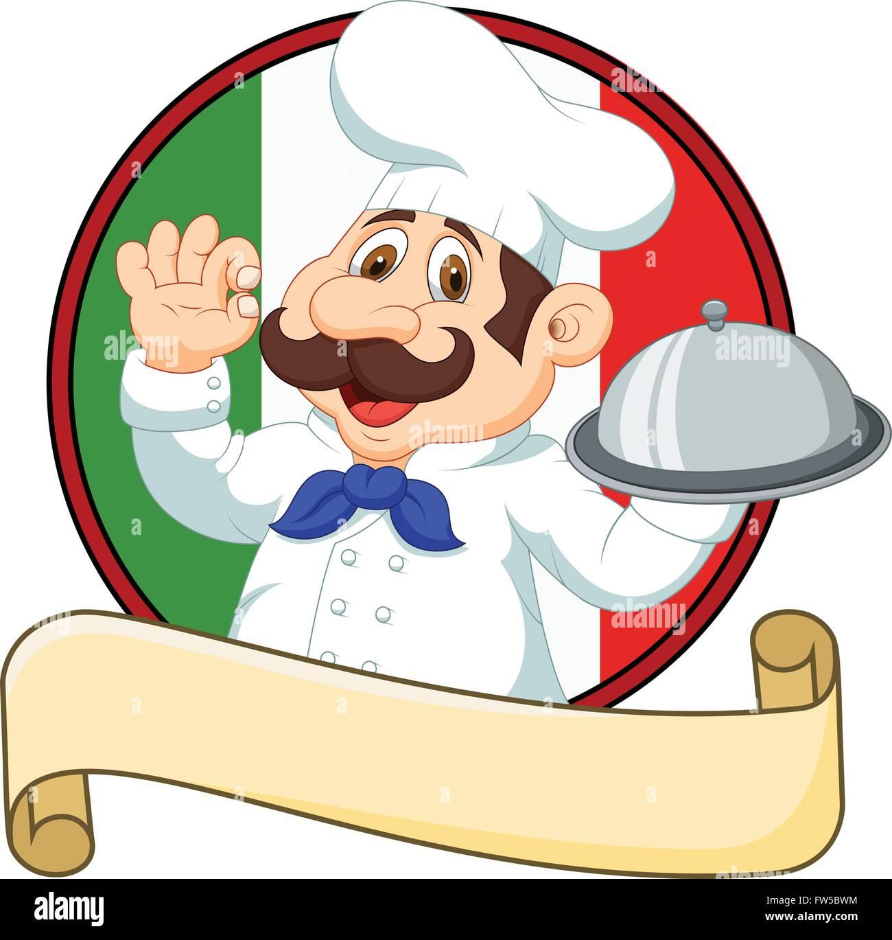 cartoon funny italian chef cartoon holding platter with ok sign rh alamy com chef cartoon pictures chef cartoon pictures