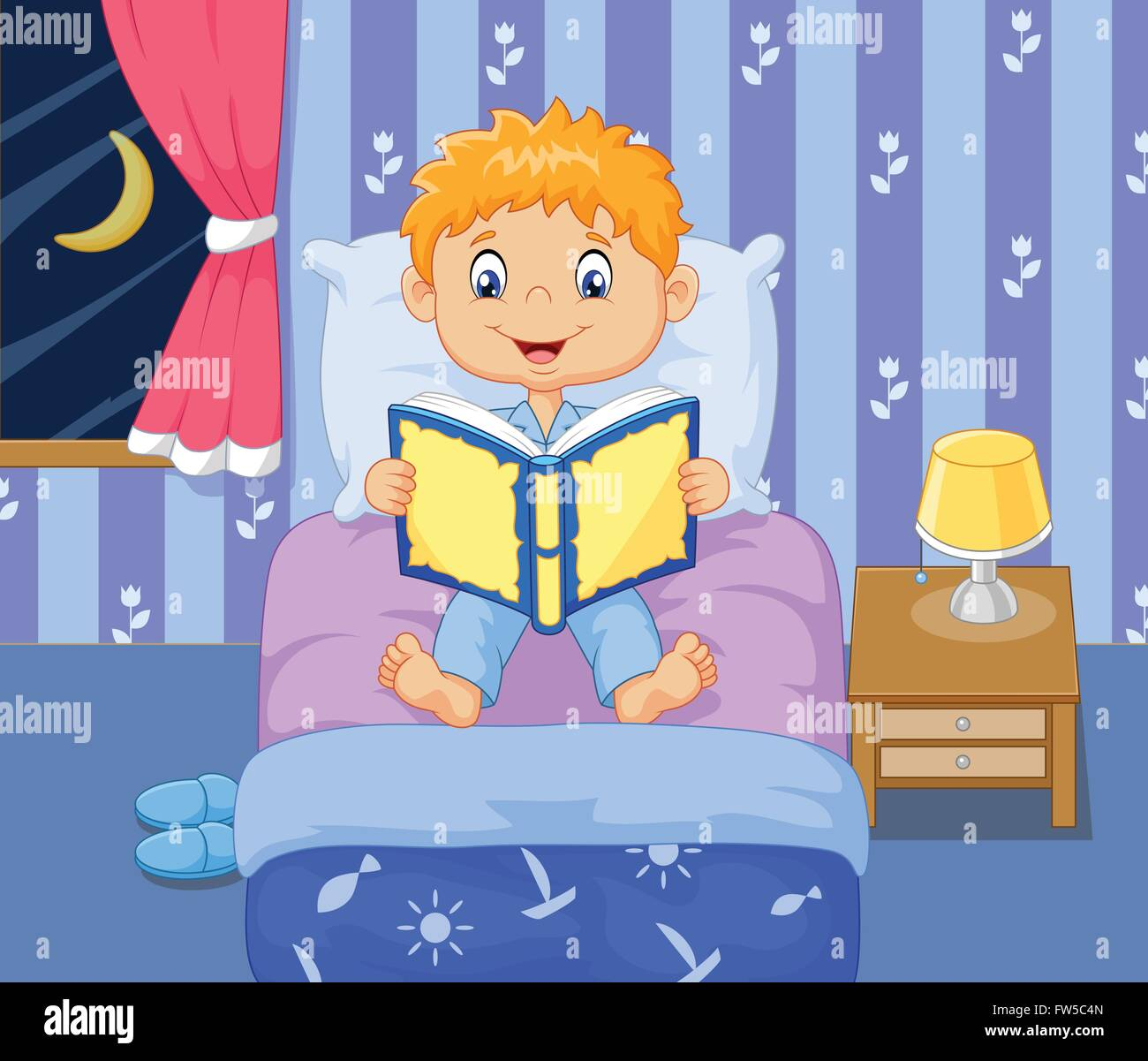 Cartoon Little Boy Reading Bed Time Story Stock Vector Art
