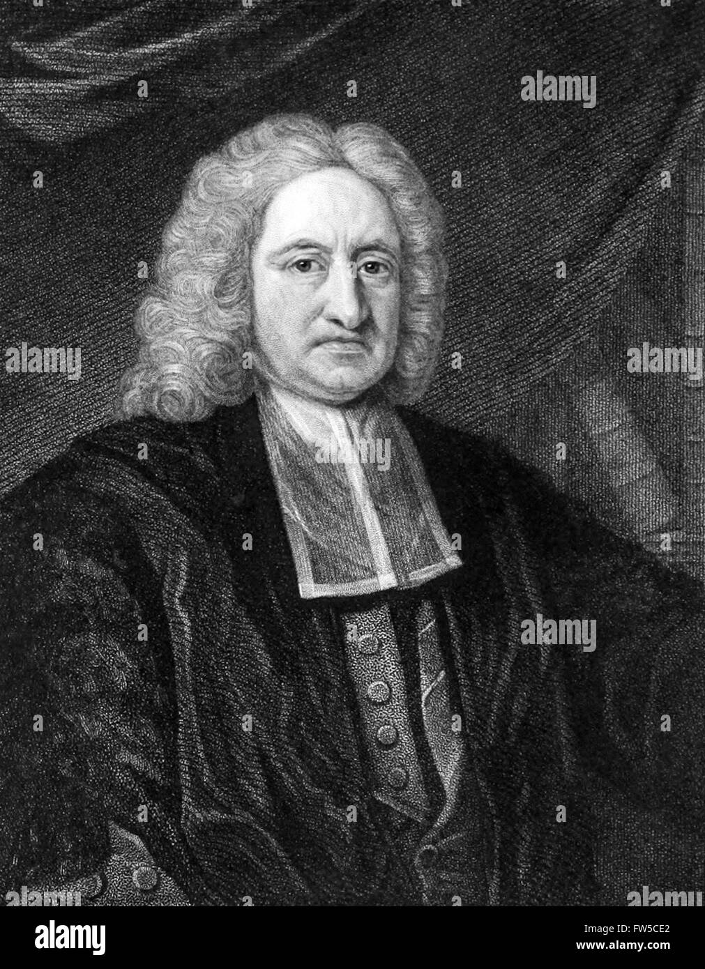 Edmond Halley (1656-1742) English astronomer and thematic cartographer. Engraving by W.T. Fry. See description for - Stock Image