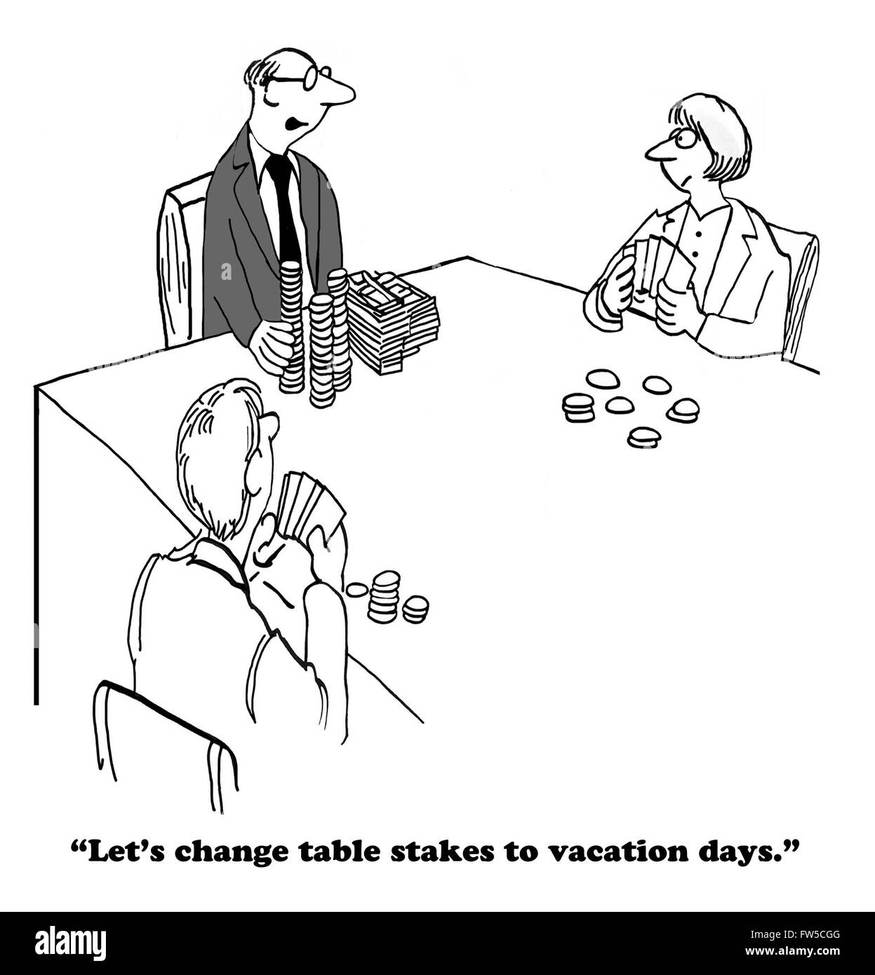 Business cartoon about getting more vacation days. - Stock Image