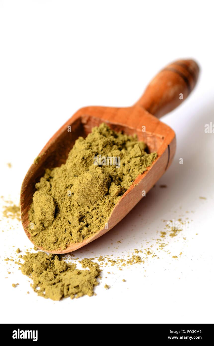 raw organic hemp protein powder on white - Stock Image