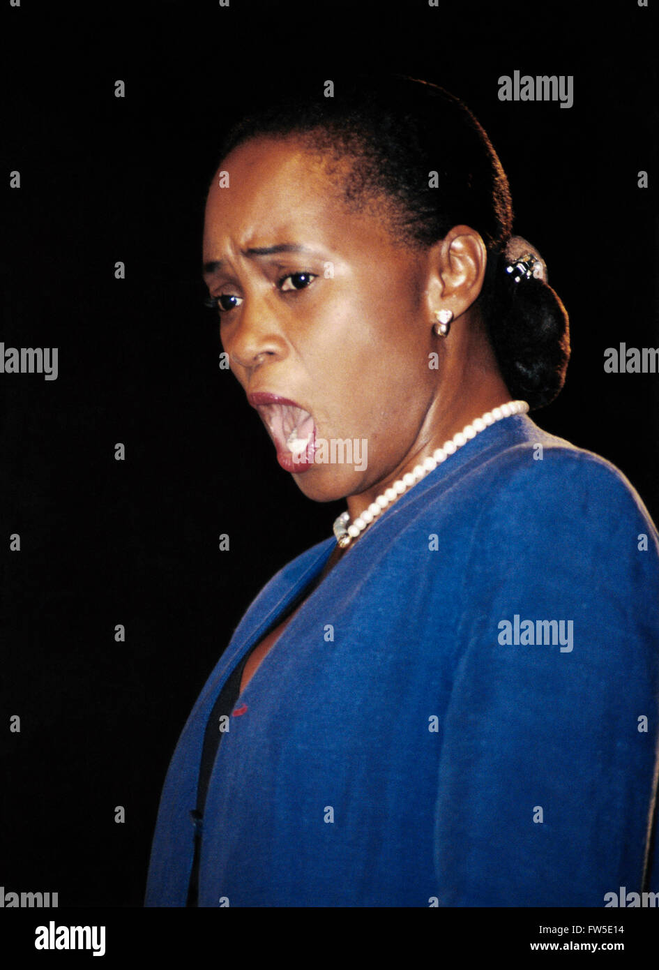 Barbara Hendricks - portrait of  American - born soprano, singing. b.20 November 1948 (currently a citizen of Sweden). - Stock Image