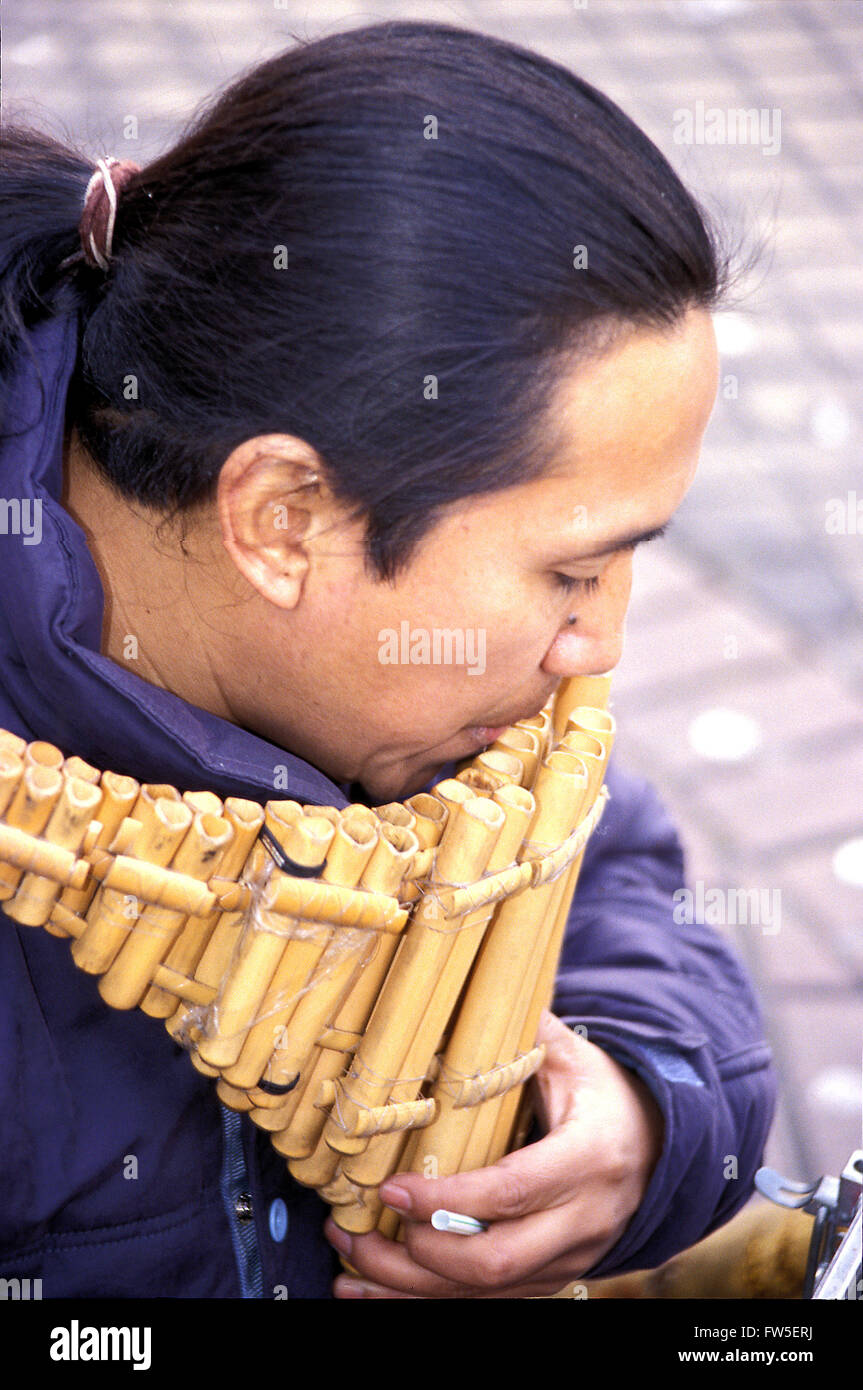 INST - Woodwind - Panpipes - Antara pictured being played. Ecuador. FZ/08 - Stock Image