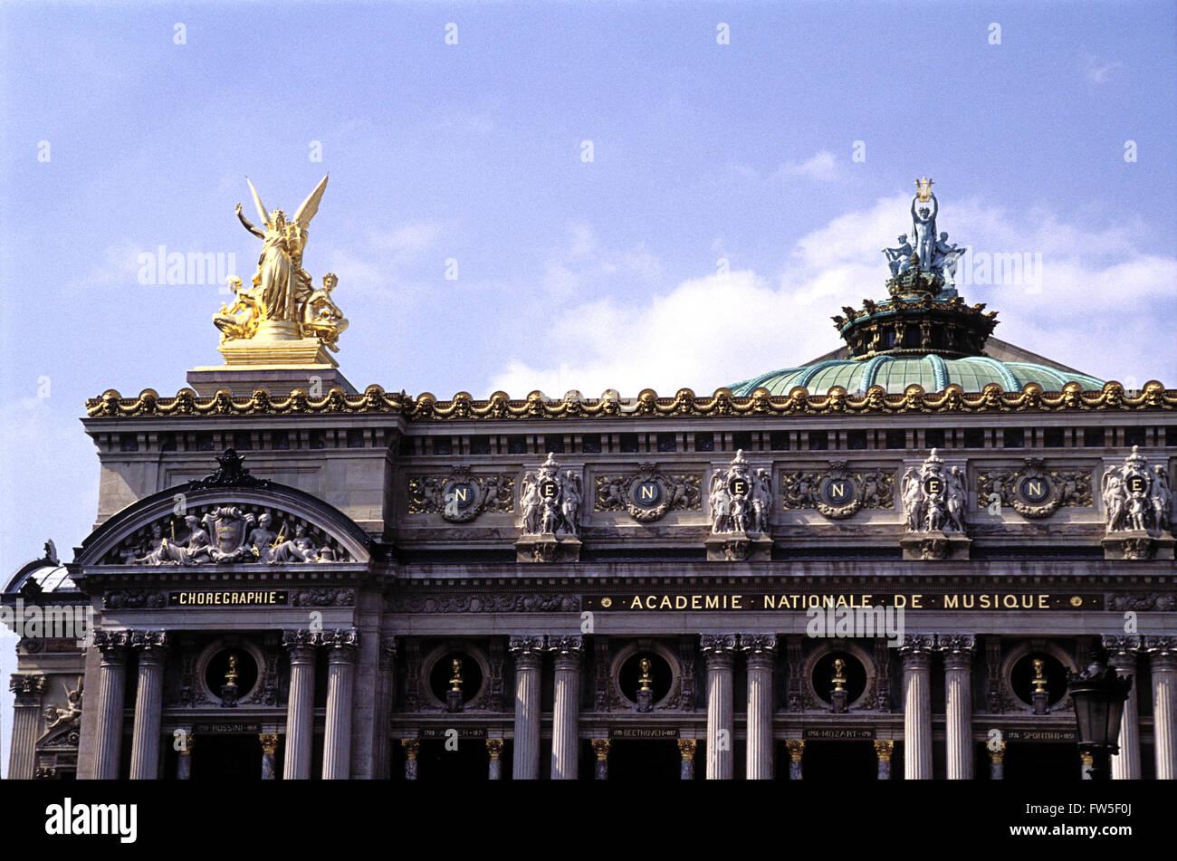 Opéra Garnier - Paris, France. Officially titled 'Academie Nationale de Musique'. Exterior showing - Stock Image