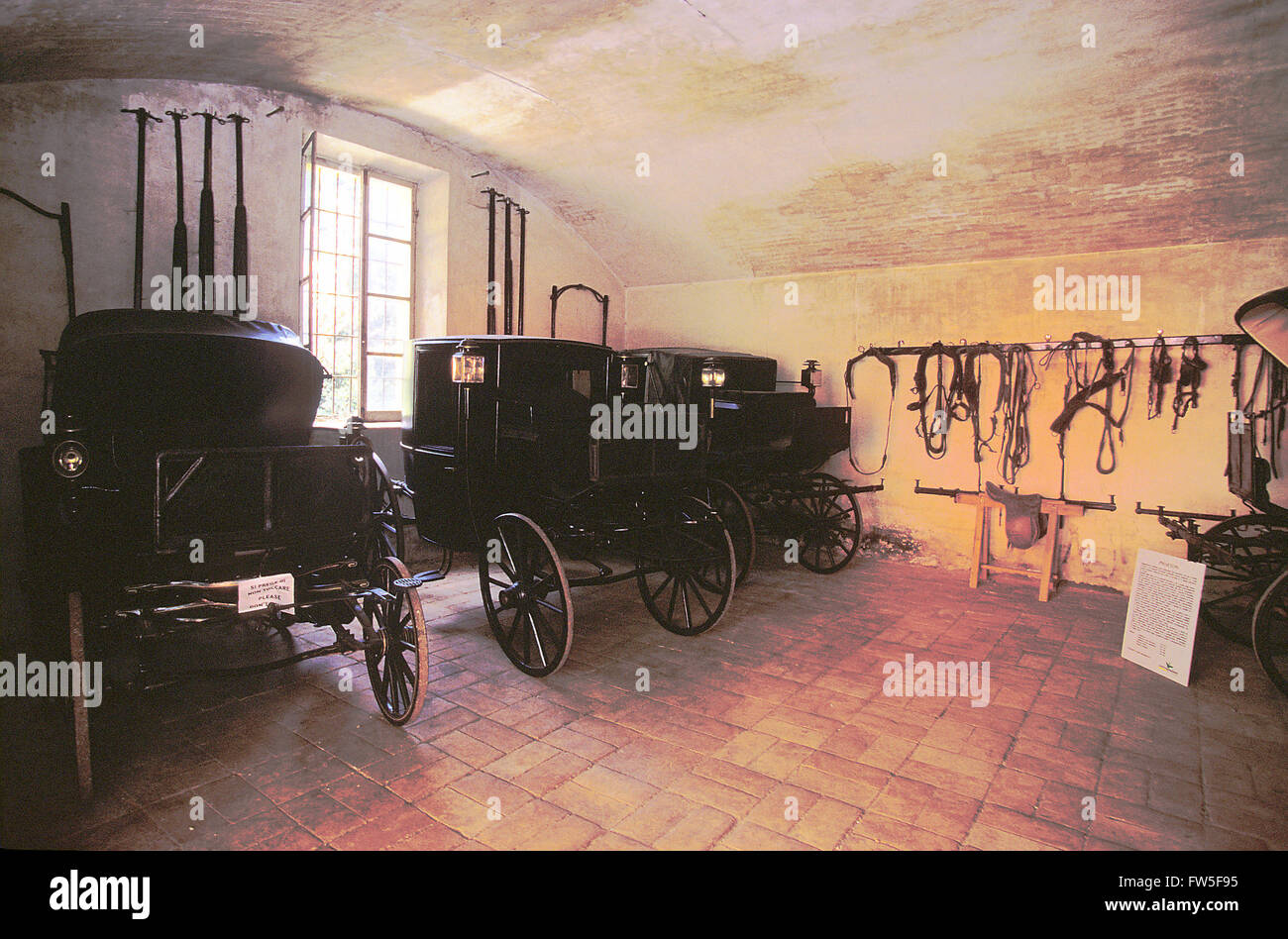 Villa Sant' Agata, outside Busseto, Parma, Italy. Stables in Giuseppe Verdi's home, featuring his Phaeton - Stock Image