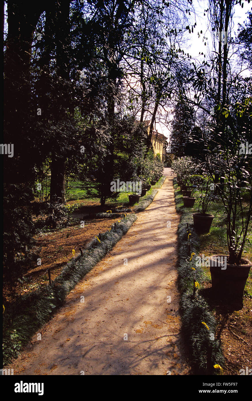 Villa Sant' Agata, outside Busseto, Parma, Italy. Giuseppe Verdi's home, the garden of the house he built - Stock Image