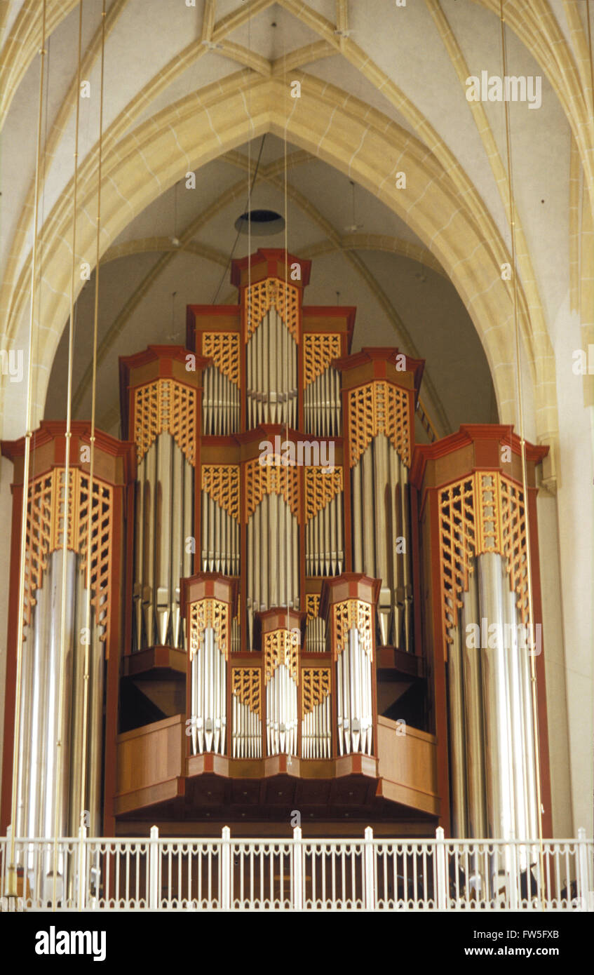 Frauenkirche - view of the organ in the interior of the church in ...