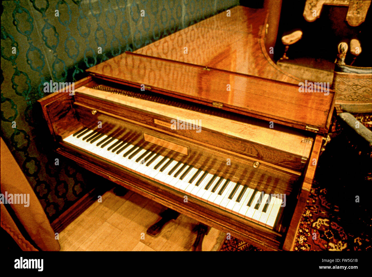 Ludwig Van Beethoven - the German composer's Broadwood piano at the Liszt museum in Budapest, Hungary (Old Academy). - Stock Image
