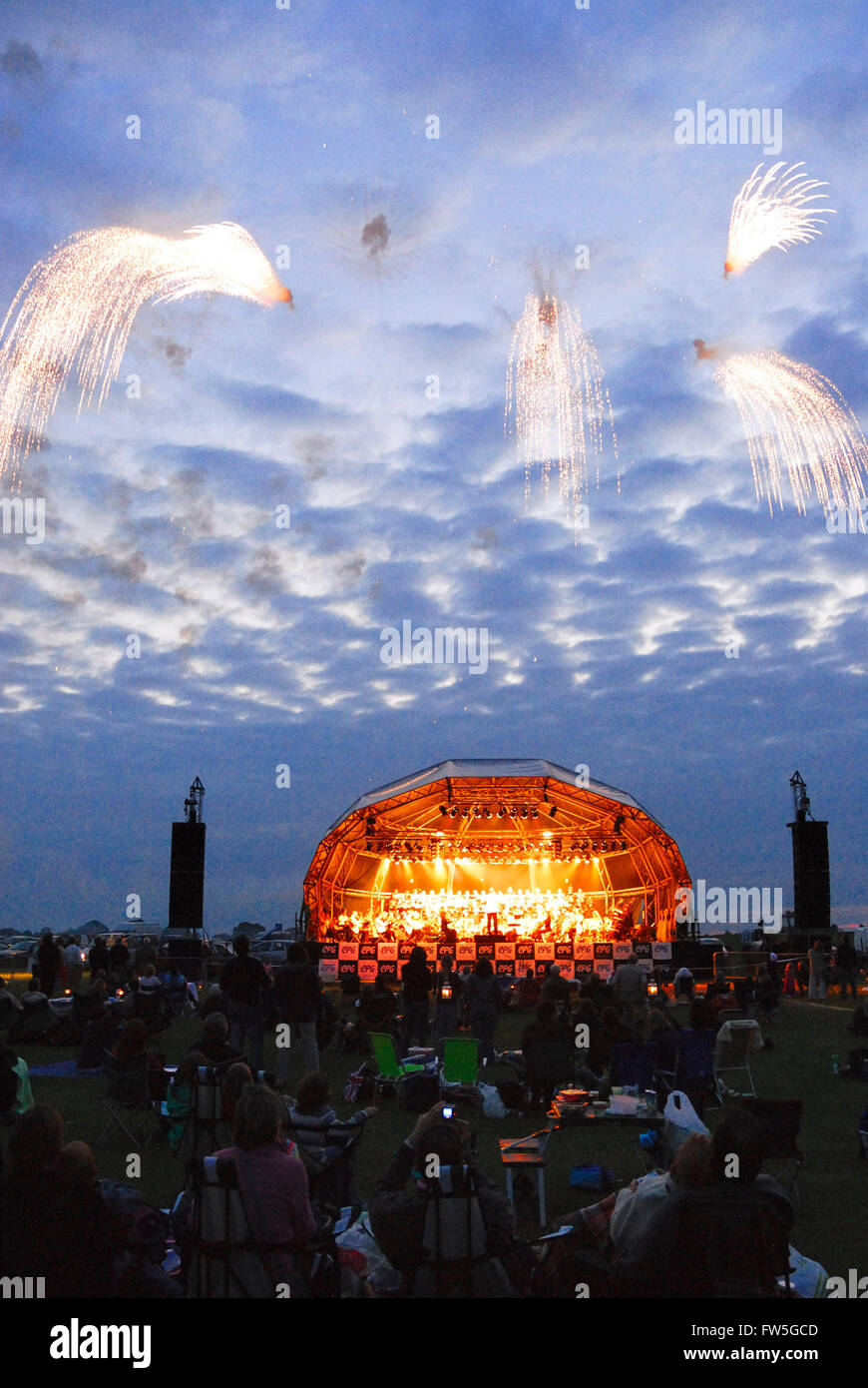 Airfield concert - fireworks at the Sywell Aerodrome, Northamptonshire, UK. - Stock Image