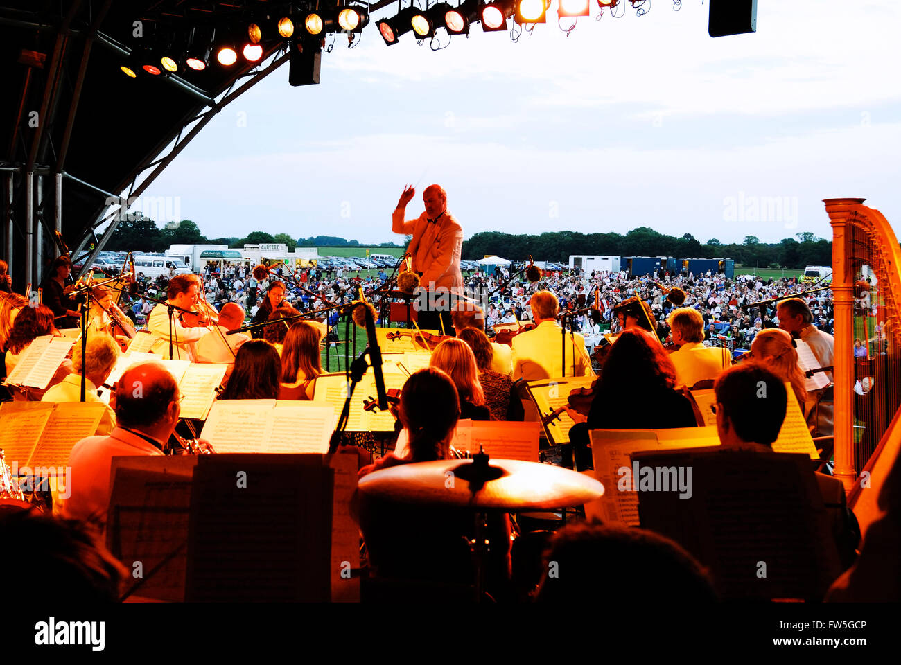 Airfield concert - Orchestra at the Sywell Aerodrome, Northamptonshire, UK. - Stock Image