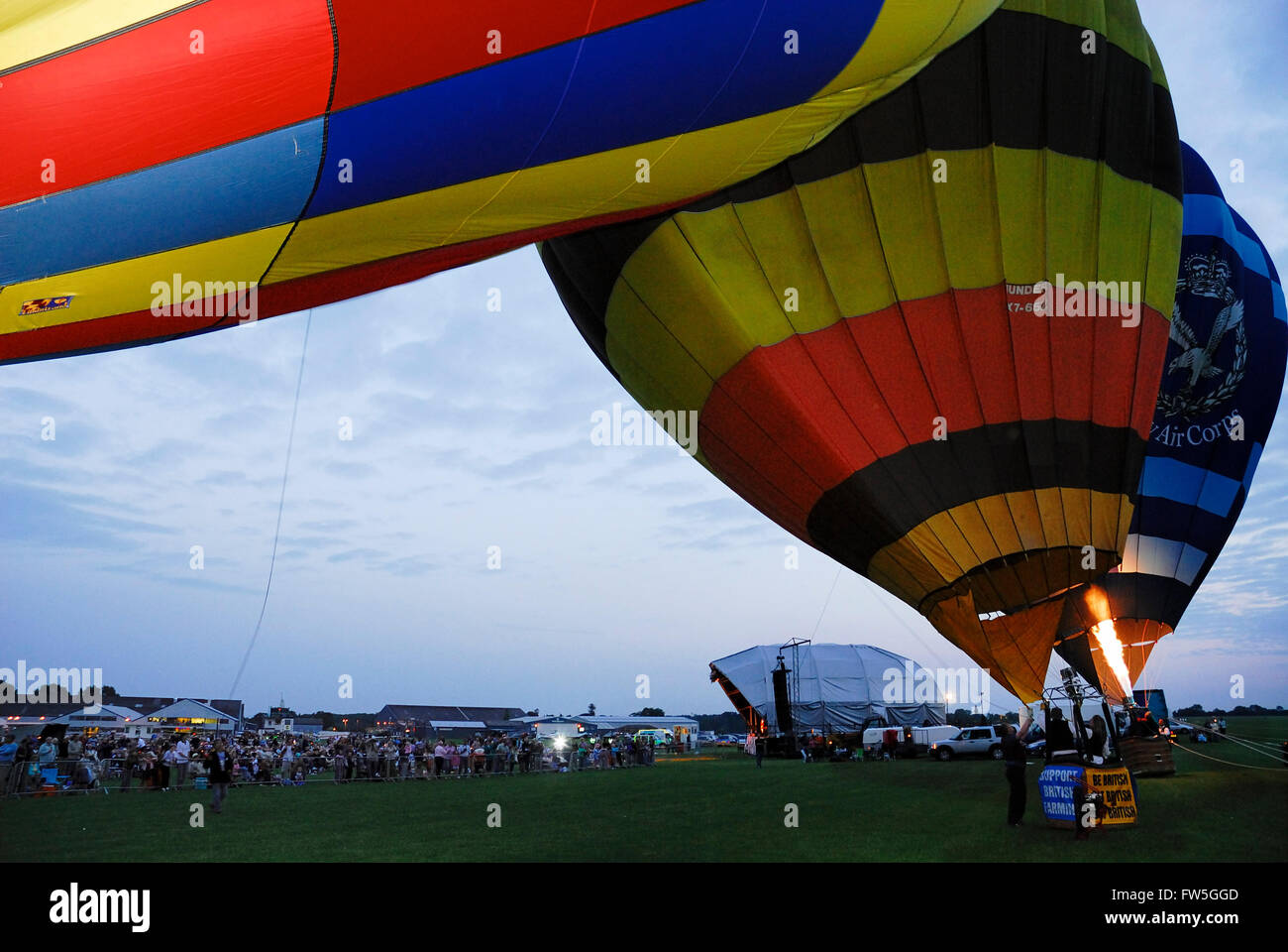 Airfield concert - balloons at the Sywell Aerodrome, Northamptonshire, UK. - Stock Image