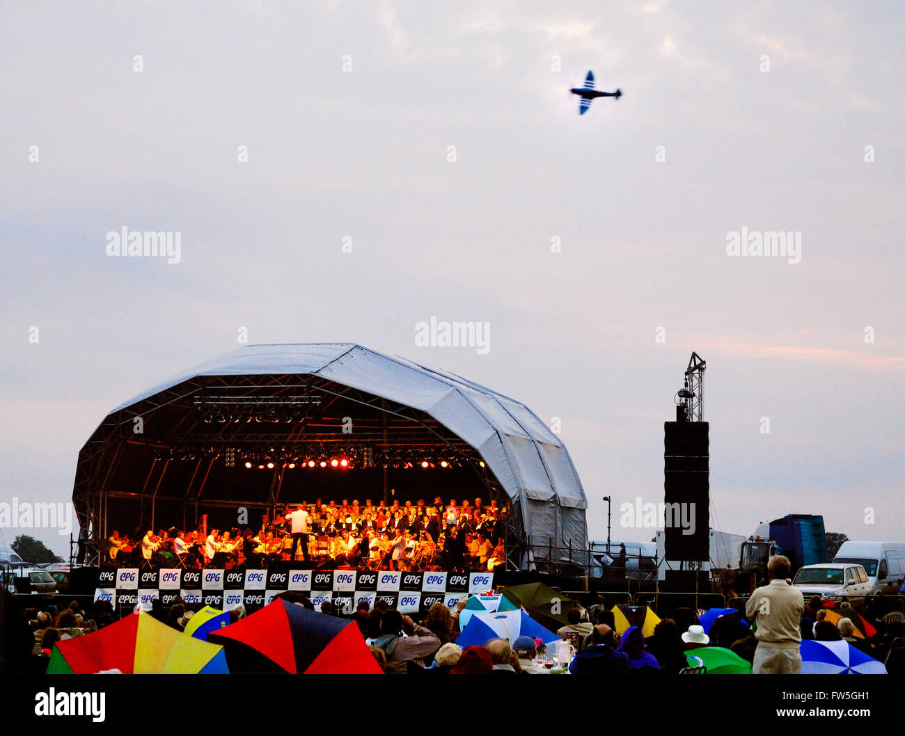 Airfield concert - stage at the Symewll Aerodrome, Northamptonshire, UK. - Stock Image