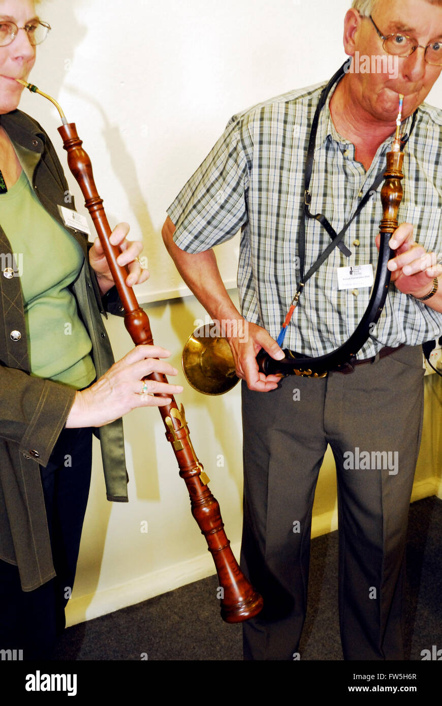 Taille, straight tube, and oboe da caccia, curved, leather bound tube, both baroque tenor oboes, cor anglais, English - Stock Image