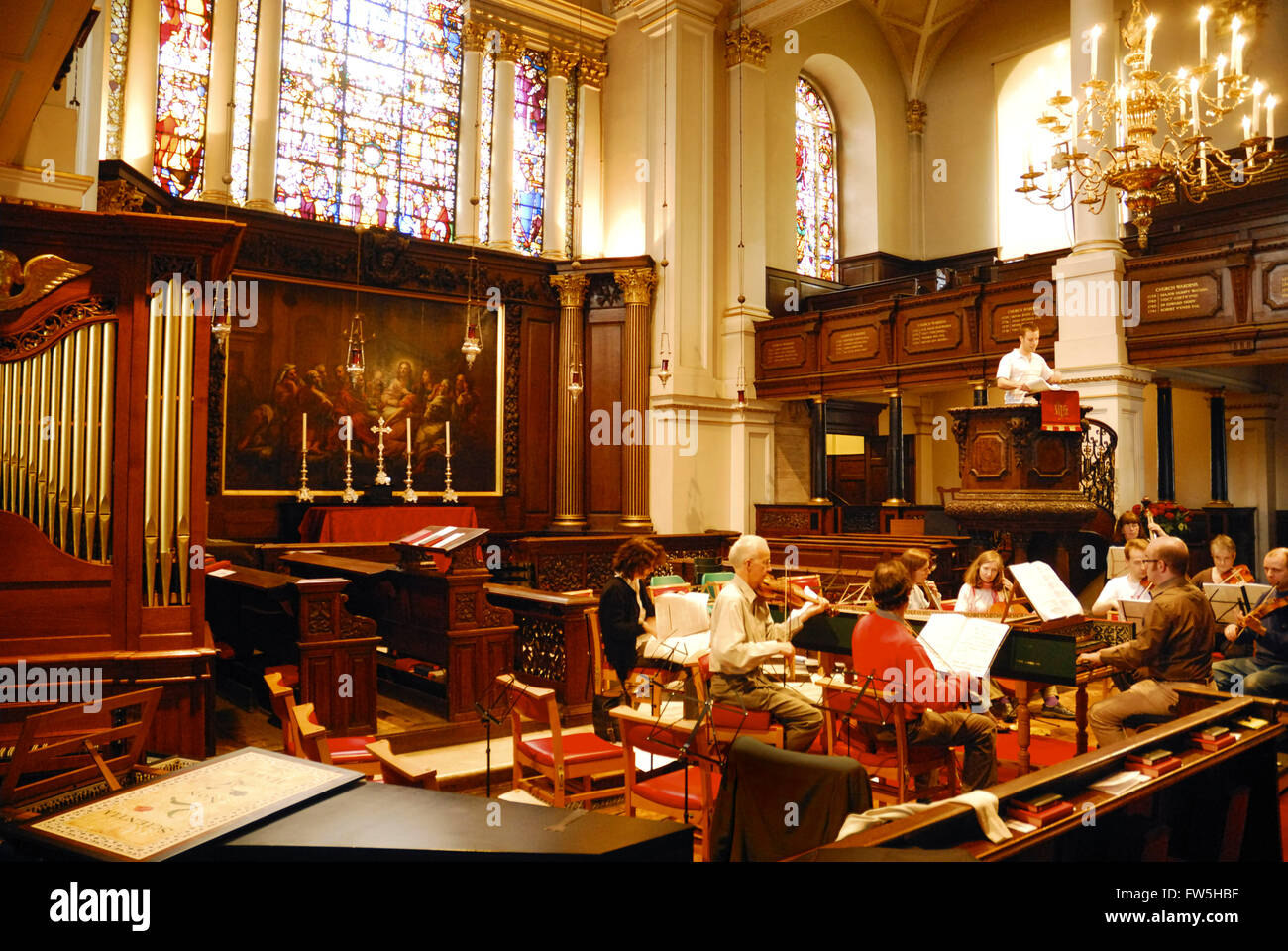 St. George's Church, Hanover Square, Handel's church, English composer, completed 1725, rehearsal of London Handel - Stock Image