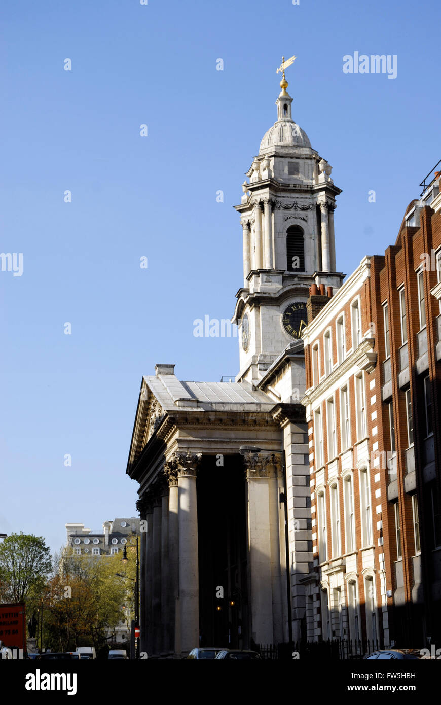 St. George's Church, Hanover Square, Handel's church, English composer, completed 1725, Corinthian columns and bell - Stock Image