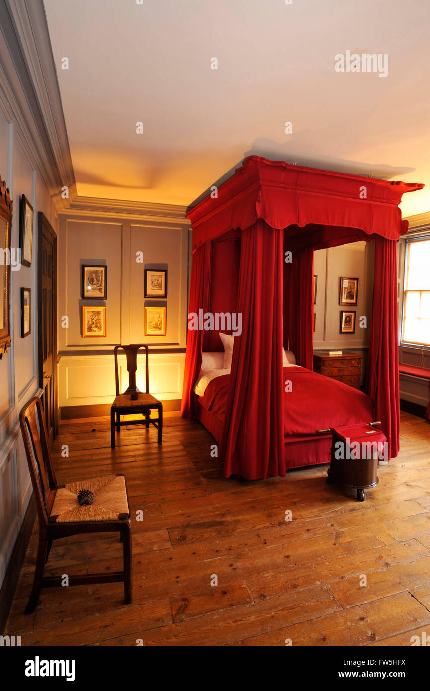 Handel House Museum, four-poster bed , Handel's bedroom, in Handel House Museum, 25 Brook St., Mayfair, London - Stock Image