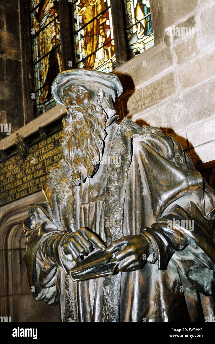 Statue of John Knox, religious reformer, Edinburgh, The Royal Mile, St. Giles Cathedral,  High Kirk - Stock Image