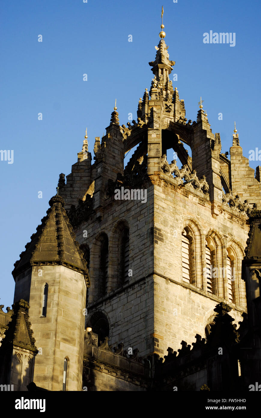 St. Giles Cathedral, High Kirk, Edinburgh, Scotland, cathedral spire: the Crown of Scotland, The Royal Mile, - Stock Image