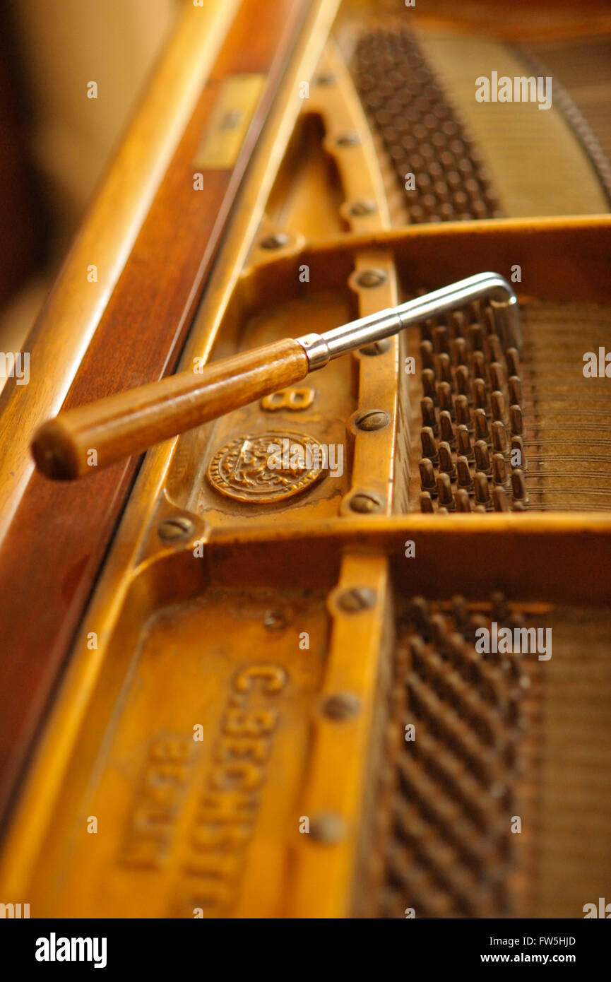Piano tuning hammer, pins and bridge of Bechstein Model A grand piano, pre 1900 Stock Photo