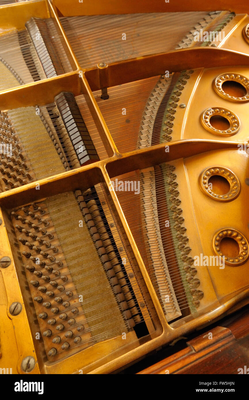Piano mechanism - sound board, strings, bridge and tuning pins of Bechstein Model A grand piano, pre 1900 - Stock Image