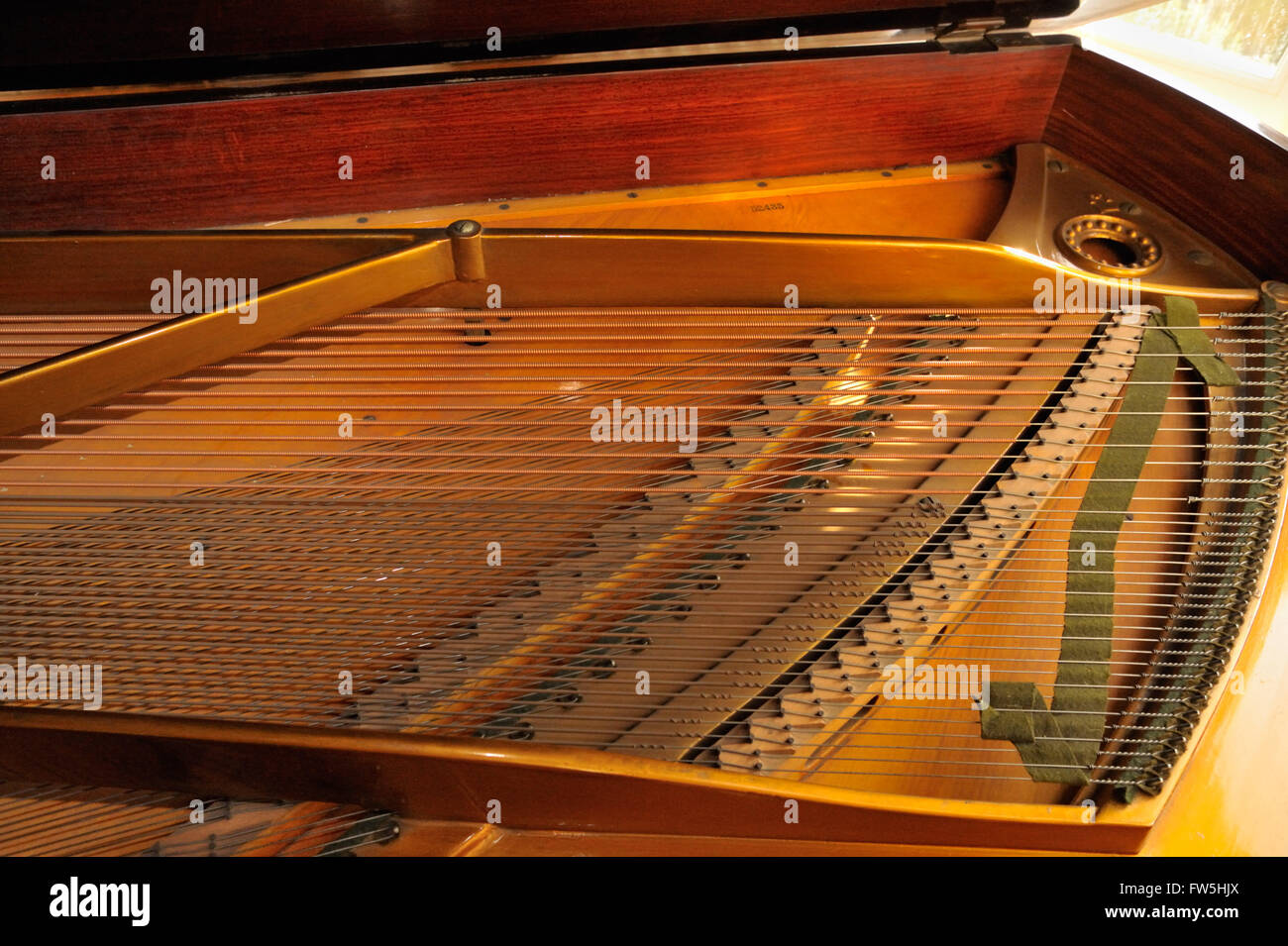 Piano mechanism - sound board, strings and bass bridge of