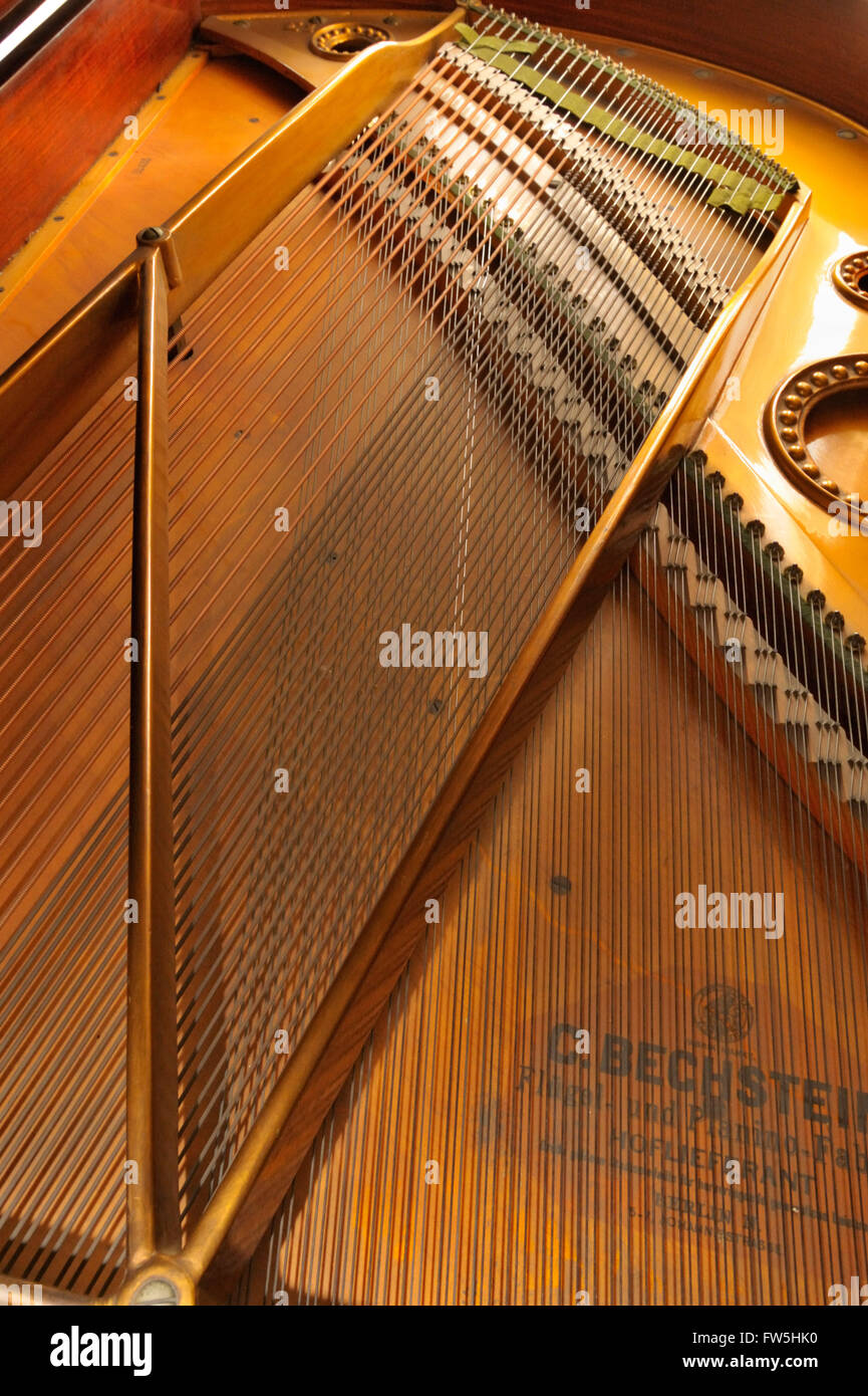 Piano mechanism - sound board, strings, bridge  of Bechstein Model A grand piano, pre 1900. with Bechstein logo - Stock Image