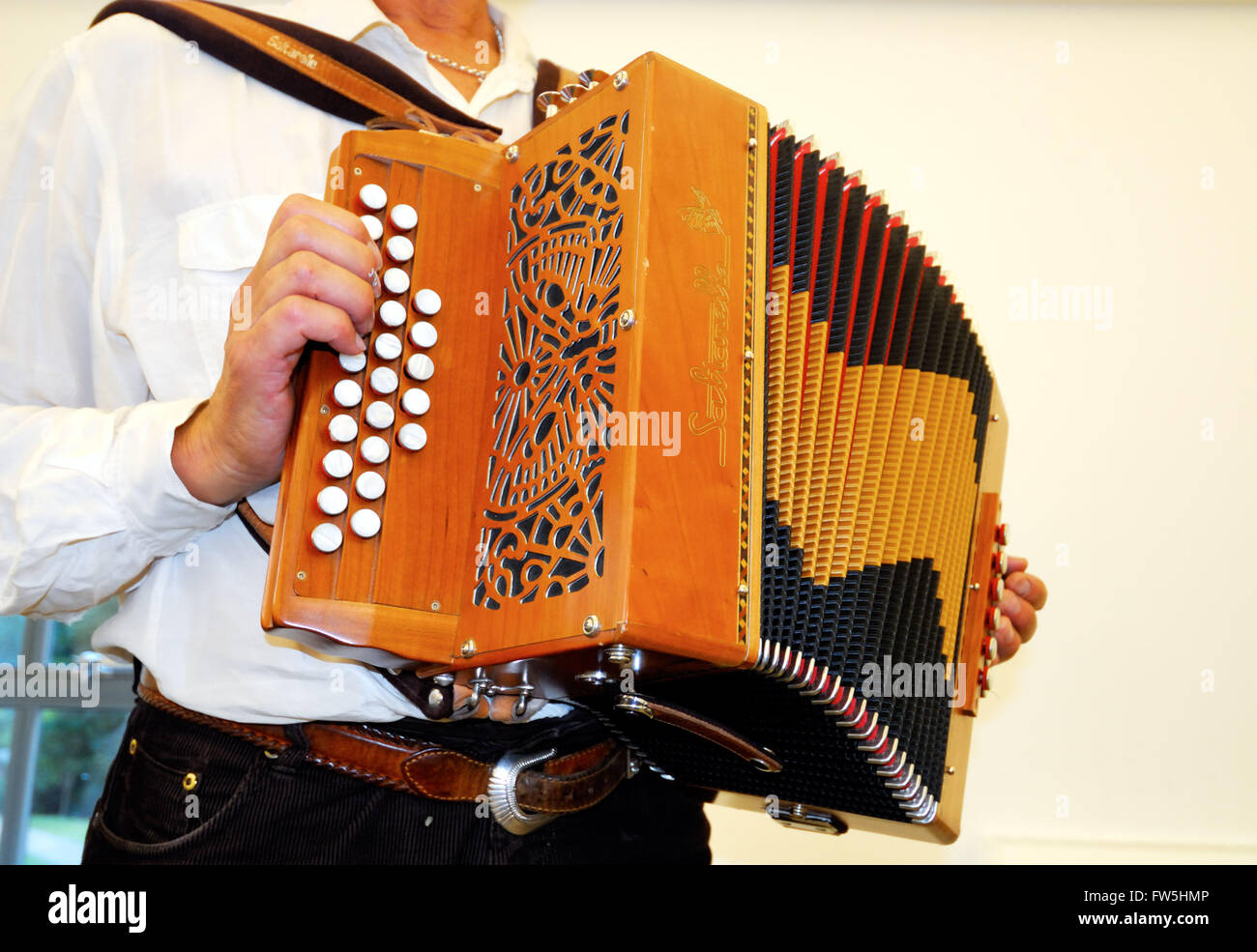 melodion, (English folk concertina) 'in D and G', made by Saltarello, used by morris dancers - Stock Image