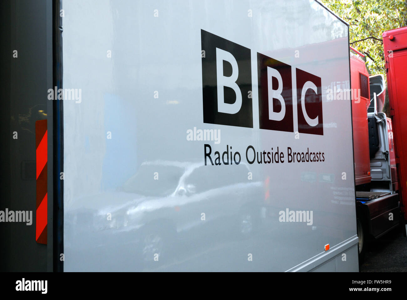 BBC outside broadcast recording van, parked outside concert hall - Stock Image