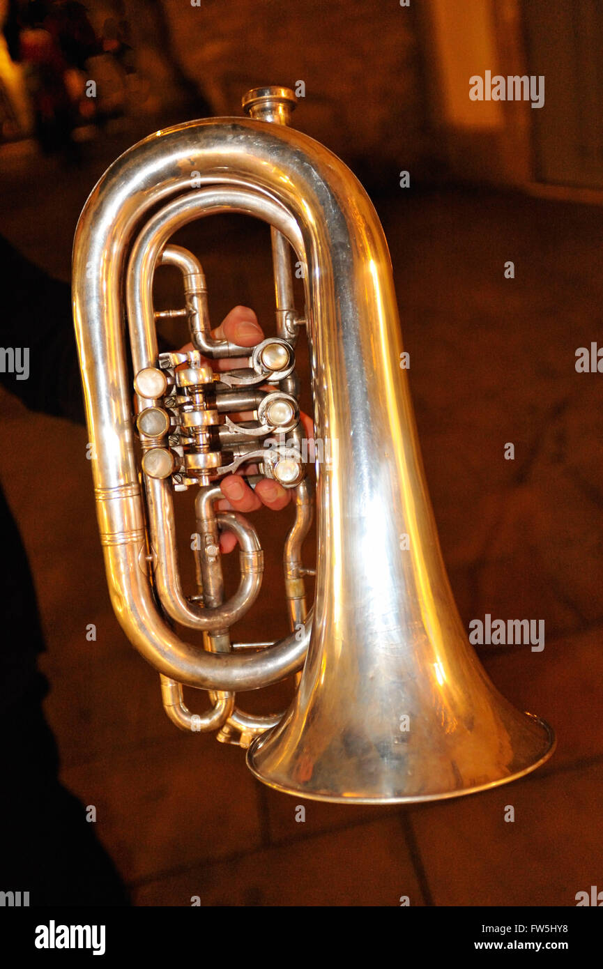fiscorn, a Catalonian conical bell forward rotary valved brass instrument (bass-flugelhorn) in C played in the cobla - Stock Image