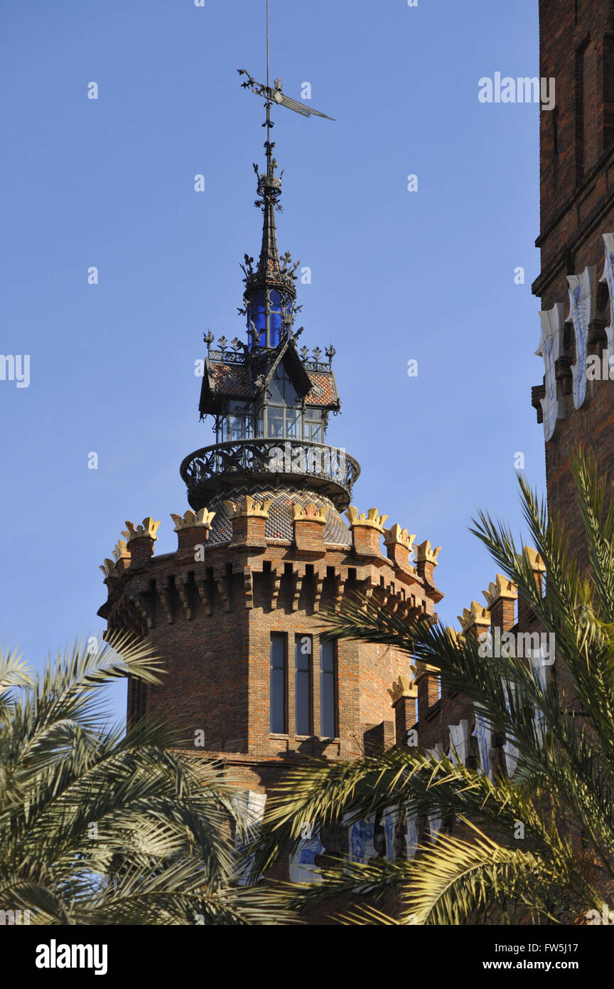 Museum of Natural Sciences and Zoology, Barcelona old town; museu de cinces naturals. tower and 'fortifications' - Stock Image