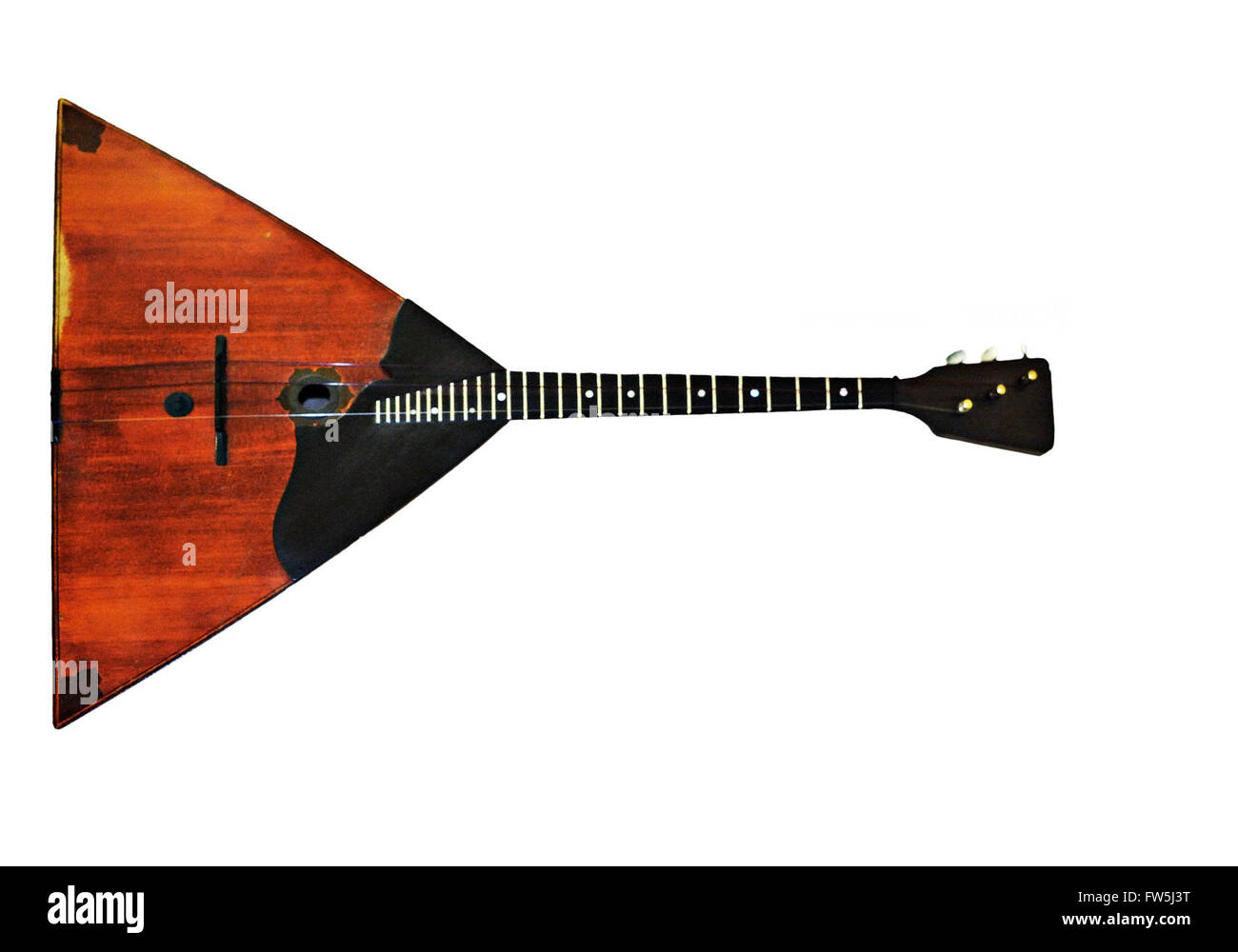 Balalaika, Russian three-stringed plucked instrument, cut-out, small picture - Stock Image