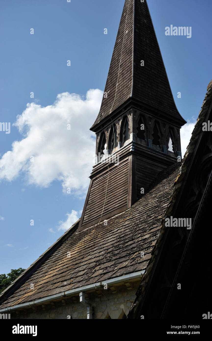 wooden shingled spire, late 1800's, of Nuthurst, church of St. Andrew's, East Sussex, near Horsham. English - Stock Image