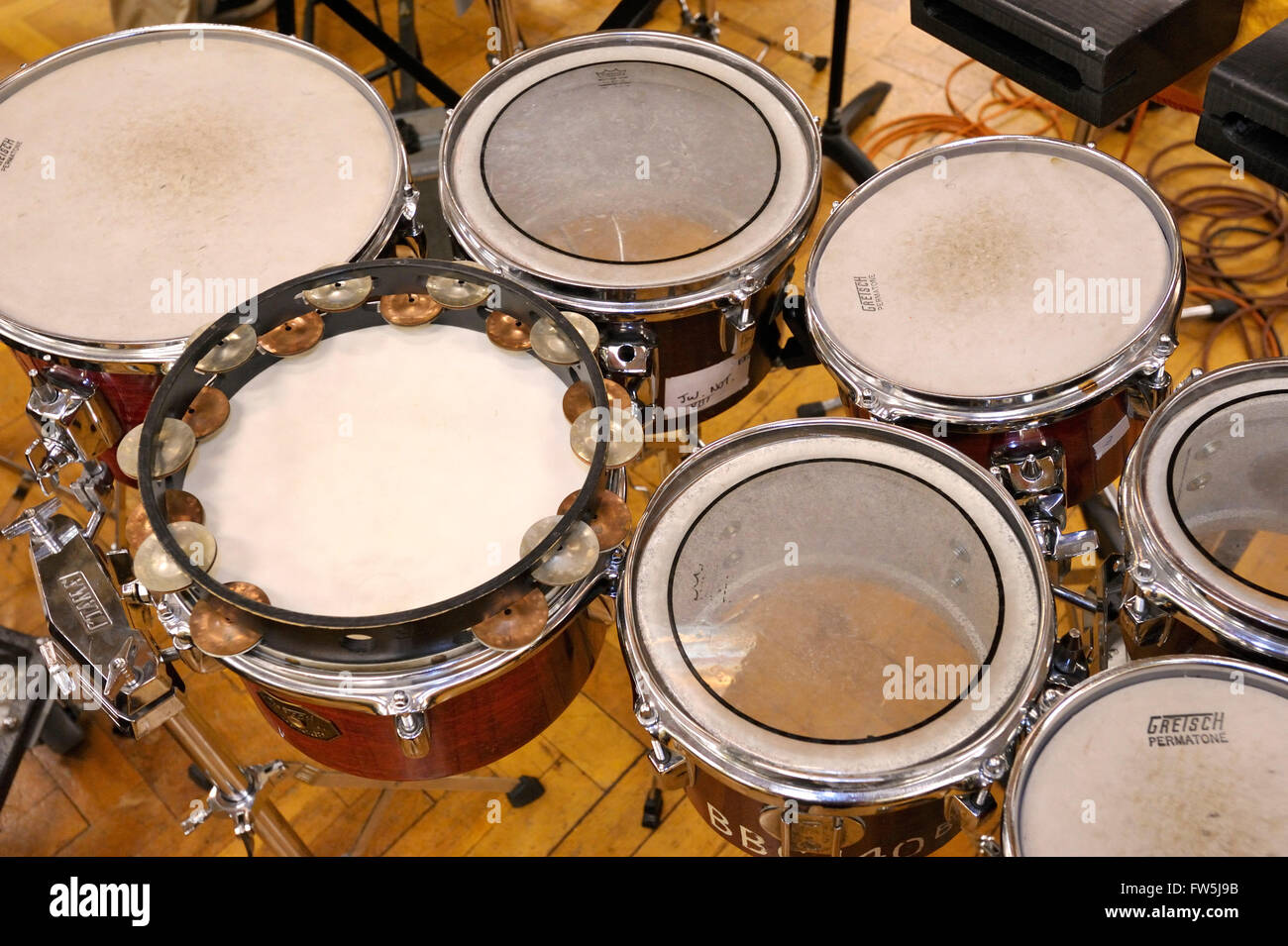 7 tom-toms, small hand-drums originating in Latin American music, used here in the modern symphony orchestra by - Stock Image