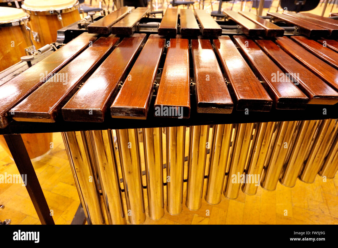 close-up of marimba, a Latin American tuned percussion intrument struck with mallets, consisting of blocks of mahogany - Stock Image