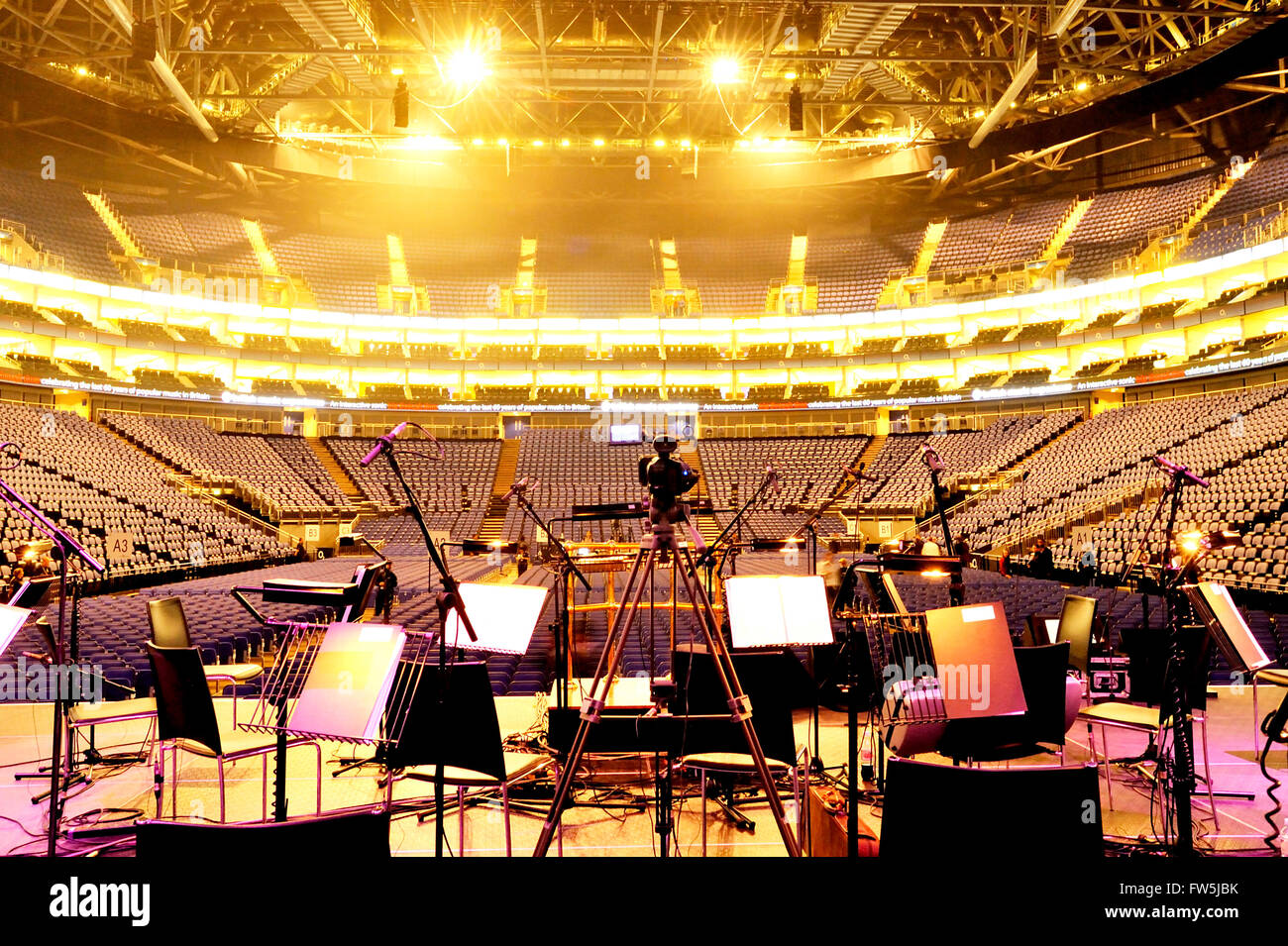 Concert auditorium, seen from the stage, of the O2 Arena, Millennium Dome (Millenium), North Greenwich, London, - Stock Image