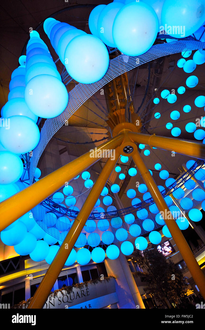 hanging lamp display, in the foyer of the concert auditorium of the O2 Arena, Millennium Dome (Millenium), North - Stock Image