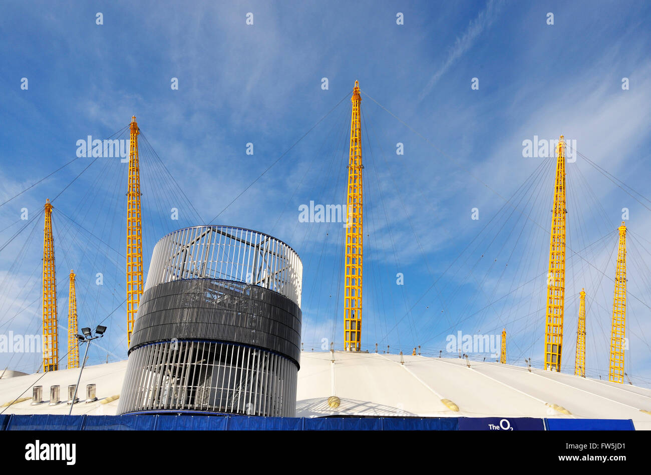 exterior constructional 'spires' of the O2 Arena, Millennium Dome (Millenium), North Greenwich, London, - Stock Image