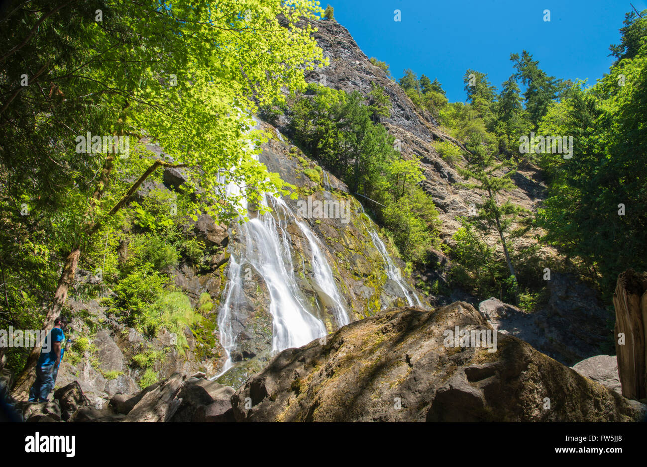Waterfall green trees fresh air and blue sky. - Stock Image