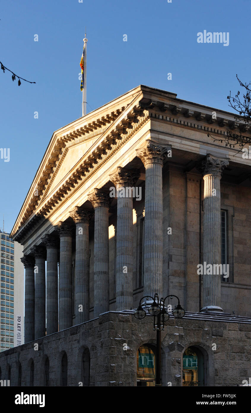 Birmingham Town Hall, exterior in snow, newly renovated concert hall, the previous home of the City of Birmingham - Stock Image