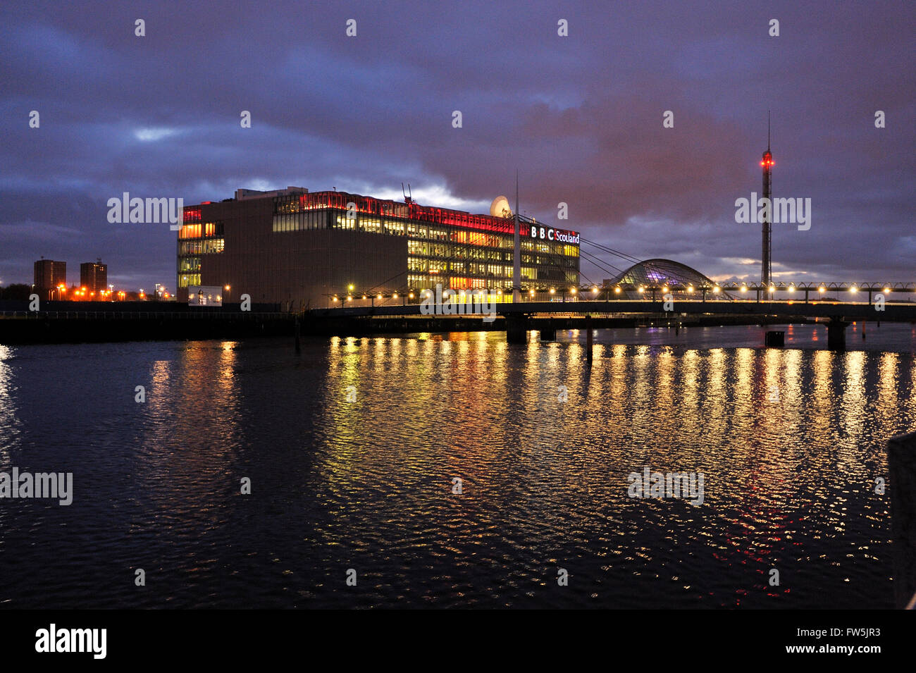 The new home of BBC Scotland, in Glasgow on the south bank of the River Clyde, at Prince's Dock. £72m project designed Stock Photo