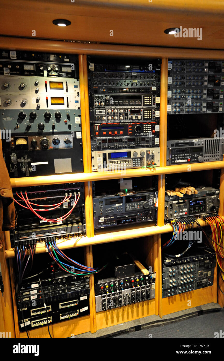 Beatles Recording Studio Stock Photos Wiring Bank Of Equipment In The Control Booth Studios At Air